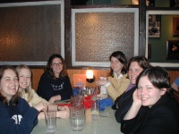 Becki, Becki's sister, Jess, Christy, Lindsy, and Rachel waiting for food at Old Chicago.