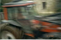A sort of artistic picture of the tractor... or just plain blurry.