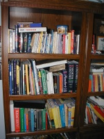 The left half of my bookshelf contains random fiction, and most of my technical books.